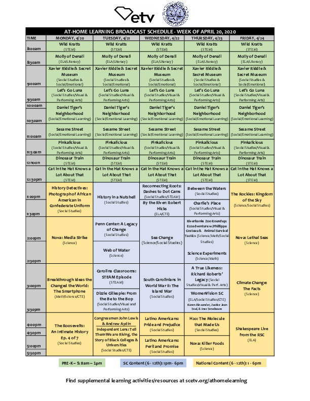 South Carolina Educational Television At Home Learning Schedule